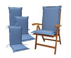 Indoba 4 x Sitzauflage Hochlehner Premium Polsterauflage, Blau