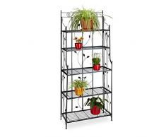 Relaxdays Pflanzenregal Metall Goth 5-stufig, Pflanzentreppe, Verzierung, Antik Stil, HxBxT: 173 x 73 x 34 cm, schwarz