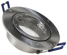 Einbaurahmen McShine (Edelstahl gebürstet, 83mm-Ø, Feuchtraum) | als Deckenleuchte verwendbar in Kombination mit Leuchtmitteln wie z. B. MR16, GU10 und LED-Modulen | IP44, spritzwassergeschützt: für z. B. Unterstände, Bäder und Küchen