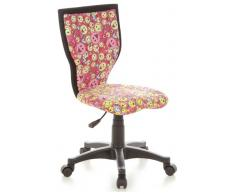 hjh OFFICE 670065 Kinder-Schreibtischstuhl KIDDY LUX Stoff-Bezug Pink/Gelb Smileys Drehstuhl Ergonomisch