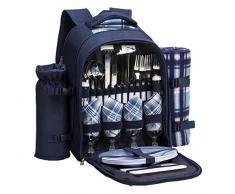 APOLLO WALKER Tawa Picknick Rucksack Tasche für 4 Person mit Kühlfach, abnehmbare Flasche/Wein Halter, Fleecedecke, Teller und Besteck Garten X-Large blau