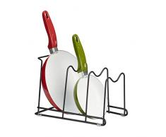 Relaxdays Pfannenhalter, für Küchenschrank, mehr Ordnung, 4 Ebenen, Topfdeckelhalter Eisen, HBT: 20,5x21x29 cm, schwarz