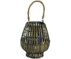 King Home L1766338 Laterne Bamboo Grey mit Glas, grau, Ø 20 x h 39