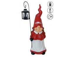 ABC Home Garden Weihnachtsfrau ❄ ❄ Gartendeko Gnom ❄ Gartenzwerg mit Laterne ❄ Solarleuchte ❄ LED ❄ ❄, Rot, 19,5x19,5x56 cm