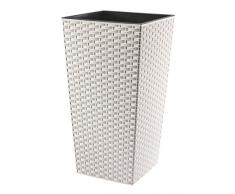 Lamela Blumentopf / Übertopf, Rattan, 25x 25x 28cm, weiß