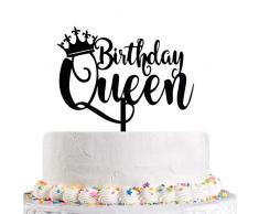 Queen Birthday Cake Topper schwarz – Happy Birthday Cake Topper, 16, 18, 21, 30, 40, 50, 60, 70, 80, 90. – 100. Kuchen Topper Geburtstag Party Dekoration