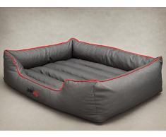 HobbyDog Hundebett Hundesofa Hundekorb Tierbett Verschiedene Größen und Farben Cordura Comfort (L - 65x50x20, 12 - grau mit rot)