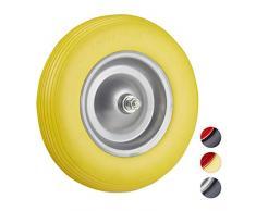 Reldays Schubkarre Ersatzrad mit Achse 4.80 4.00-8 PU Gummi Achse 100 kg gelb grau