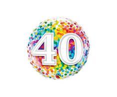 Qualatex 049532 40 Rainbow Confetti, Folienballon, 45,7 cm, mehrfarbig