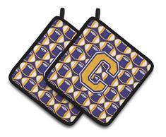 Caroline s Treasures Buchstabe C Fußball Violett & Gold Paar Topflappen cj1064-cpthd, 7.5hx7.5 W, multicolor