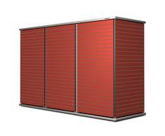 Garten[Q] Teras-XL-2 Gartenschrank, Gartengeräteschrank, Gartenbox, HPL-Trespa, wetterfest mit schmalen Streifendesign, Zugriff von 3 Seiten