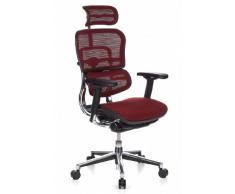 hjh OFFICE 652170 Luxus Chefsessel ERGOHUMAN Netzstoff Weinrot hochwertiger Bürodrehstuhl mit Vollausstattung