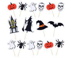 Aneco Halloween Cupcake Toppers Halloween Food Picks mit Kürbis Geist Spinnen Fledermaus Design für Halloween Party Dekoration