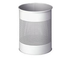 Durable 331010 Papierkorb Metall rund 15 Liter, Perforation 165 mm, grau