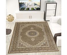 VIMODA Teppich Klassisch Gemustert Kreis, sehr dicht gewebt, Orient Muster - Top Qualität, BRAUN, Maße: 80x150 cm