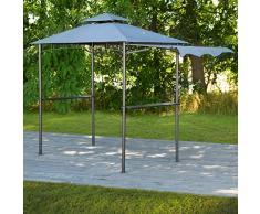 greemotion Pavillon Dayton, Gartenzelt mit Vordach, Grillpavillon mit Ablagemöglichkeiten, Pavillon aus Stahl mit Dach, Partyzelt in Anthrazit