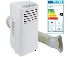 MELISSA 16490006 mobile Klimaanlage Semi Profi 760 Watt, 7000 BTU Leistung,Klima,Ventilator Rollen,Kühlmittel R410A,Fernbedienung,Schlaffunktion,24 Stunden Timer,[Energieklasse A], Weiß
