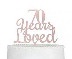 qttier 70 Jahren Loved 70. Happy Birthday Cake Topper Anniversary Party Dekoration Premium Qualität Acryl (Rose Gold)