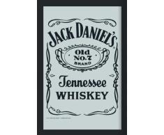 empireposter - Jack Daniels - Logo - Inversion - Größe (cm), ca. 30x40 - Maxi-Spiegel, NEU - Beschreibung: - Bedruckter Wandspiegel mit schwarzem Kunststoffrahmen in Holzoptik -