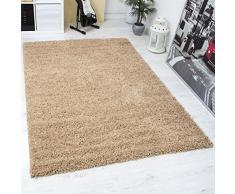 VIMODA Prime Shaggy Teppich in Beige Hochflor Langflor Teppiche Modern für Wohnzimmer Schlafzimmer Einfarbig, Maße:Ø 120 cm Rund