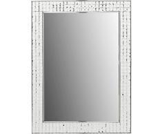 Kare Design Spiegel Crystals Chrom, 80x60cm, kleiner Wandspiegel, Schminkspiegel Chrom, Badspiegel mit Kristall Rahmen, Flurspiegel (H/B/T)80x60x4cm