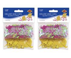 Beistle 60861 53433 Einhorn Deluxe Sparkle Konfetti, 57 g, 5,1 x 3,8 cm, Gold/Pink