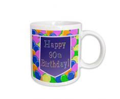3dRose Luftballons mit violettem Banner Happy 90th Birthday, Keramik, 425 ml, Weiß