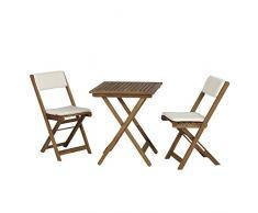 Siena Garden Balkonmöbelset Almeria, Tisch 60x60x72cm, Akazienholz, geölt in natur, FSC 100%, Kissenbezug aus Polyester in beige
