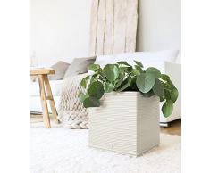 Emsa 518512 Casa Cosy Blumenwürfel, Blumentopf, weiß, 30 x 30 x 31 cm