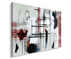 Feeby, Wandbild - 1 Teilig - 60x80 cm, Leinwand Bild Leinwandbilder Bilder Wandbilder Kunstdruck, MODERN, FRAU, STRICHE, SCHWARZ, GRAU