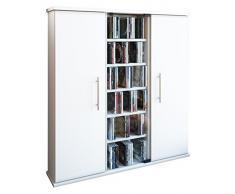 VCM 45024 Regal DVD CD Rack Medienregal Medienschrank Aufbewahrung Holzregal Standregal Schrank Bluray Möbel Farbwahl Santo,Weiß