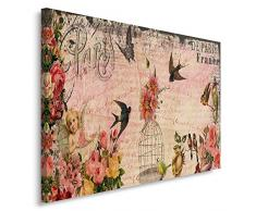 Feeby, Leinwandbild, Bilder, Wand Bild, Wandbilder, Kunstdruck 50x70cm, VINTAGE, FRANKREICH, BLUMEN, VÖGEL, ROSA, GRAU