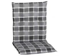 greemotion Stuhlauflage Almeria, Sitzkissen für Niedriglehner, Polster aus Polyester und Baumwolle, Kissen in Grau kariert, Maße: 98 x 5,5 x 50 cm