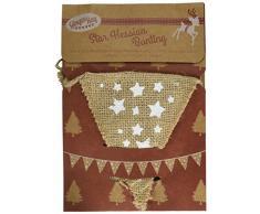 Ginger Ray VN-246 Vintage Noel Wimpelkette, Stern, Sackleinen, Textil, braun