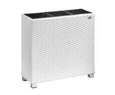 Gartenfreude Pflanzkübel, Raumteiler Polyrattan, 3x Kunststoff-Einsätze mit Aluminumfüßen, weiß, 76x26x73 cm, 4000-1071-208