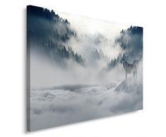Feeby, Wandbild - 1 Teilig - 60x80 cm, Leinwand Bild Leinwandbilder Bilder Wandbilder Kunstdruck, WALD, WÖLFE, NATUR, GRAU