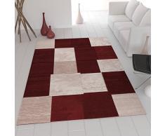 Moderner Designer Teppich in Wein Rot Kariert und Meliert sehr dicht gewebt VIMODA; Maße: 120x170 cm