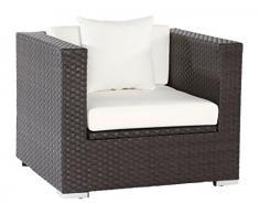 Outflexx Sessel, inklusive Polster und Kissen, Kissenbox funktion, Polyrattan, Braun, 1085 x 68 x 20 cm