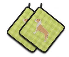 Caroline s Treasures Staffordshire Bull Terrier Schachbrett grün Paar Topflappen bb3854pthd, 7.5hx7.5 W, multicolor
