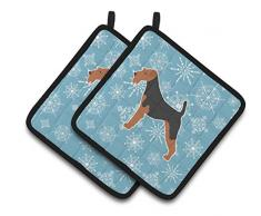 Caroline s Treasures Winter Schneeflocke Airedale Terrier Paar Topflappen bb3557pthd, 7.5hx7.5 W, multicolor