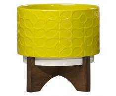Orla Kiely OK426 Keramik Blumentopf mit Ständer 60er Vorbau Pusteblume, gelb, 20 x 20 x 20 cm