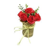 Restaurantware Kunstpflanze Sapone del Fiore, rote Rosen, 7 Blüten - Mini - Kunststofftopf - Kunstpflanzen - 22,9 cm - 12 Karat Box Plastiktopf rot