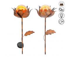 ABC Home Garden Solarstecker Blumen Solarleuchte ✔ Lichtsensor ✔ EIN- & Ausschalter ✔ 2er Set, Bronze