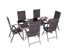 Ultranatura Aluminium Gartenmöbelset Korfu-Serie, 8-teilig – 2 Tische, 6 Stühle
