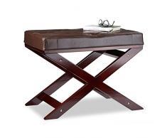 Relaxdays Sitzbank mit Polster ohne Lehne, aus Holz und Kunstleder, Einsitzer, HxBxT 48 x 64 x 40, braun