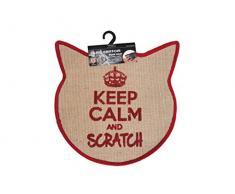 Wouapy – Kratzteppich für Katzen – Teppich mit Katzenkopf aus Sisal – Kratzteppich – Design & Trend – Aufschrift Keep Calm and Scratch – praktisch & rutschfest – Rot