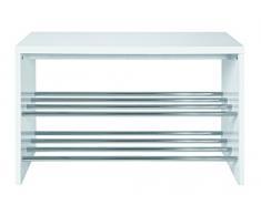 Haku-Möbel 95331 Bank 81 x 30 x 55 cm, weiß/chrom