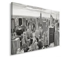 Feeby, Wandbild - 1 Teilig - 60x80 cm, Leinwand Bild Leinwandbilder Bilder Wandbilder Kunstdruck, EMPIRE STATE BUILDING, NEW YORK, ARCHITEKTUR, SCHWARZ-WEIß
