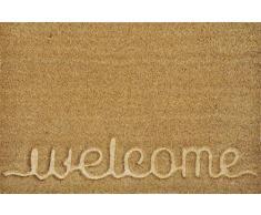 """Verdemax 5478 Viereckige Fußmatte """"Welcome"""", Beige"""