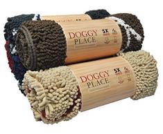 My Doggy Place -Fußmatte Ultra Saugfähige Mikrofaser-Hund, Langlebig, Schnell Trocknend, Waschbar, Schlamm Schmutz Verhindern, Halten Sie Ihr Haus Sauber (Brown W / Paw Print, Medium (31 X 20))
